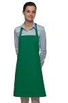 Bib Apron 28 inches long in Kelly Green - Inset pocket