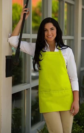Lime Green Bib Apron 3 Pockets American Made