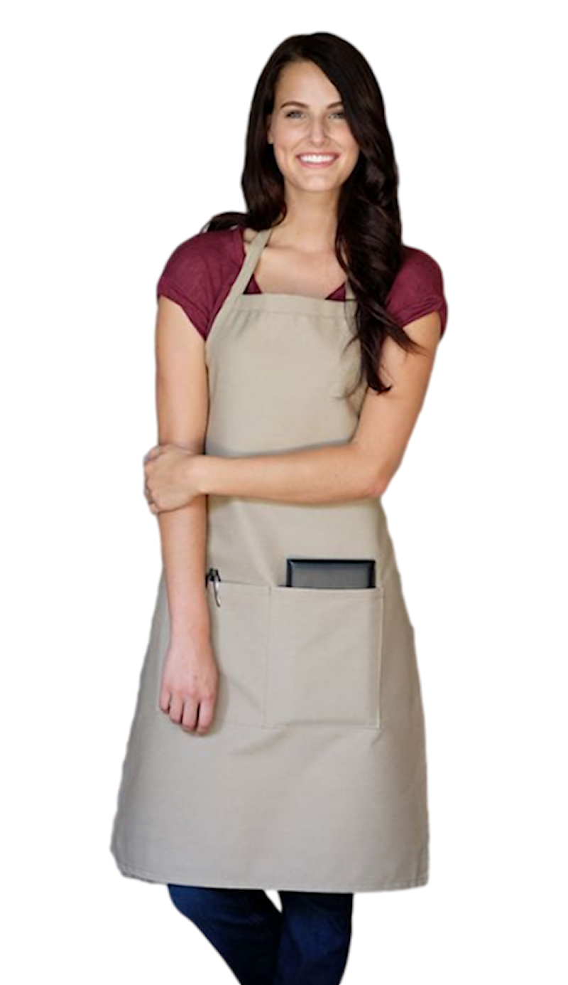 Bib Cross Back Aprons with 2 Pockets Cotton for Women,Butcher,Hairstylist Fits f