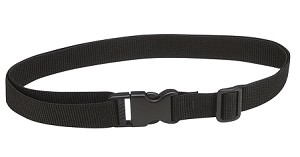 Black webbing belt with fast click closure.