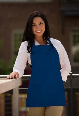 Three pocket Bib Apron in cobalt blue.
