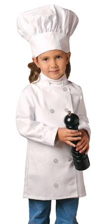Childs chef coat and chef hat. Long sleeve in white.